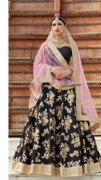 Embellished Black Lehenga With Contrast Dupata
